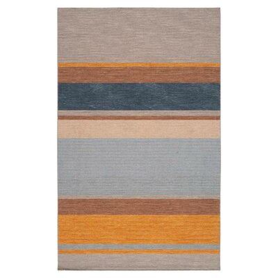 Carressa Amber/Elephant Gray Striped Area Rug Rug Size: 3'6