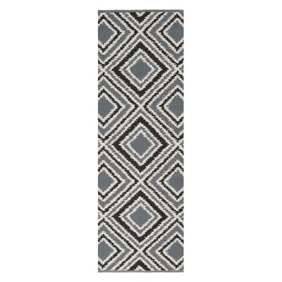 Halycon Pewter/Jet Black Area Rug Rug Size: Runner 26 x 8