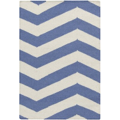Lowery Periwinkle/White Chevron Area Rug Rug Size: Sample 6