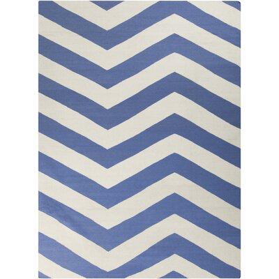 Dickerson Periwinkle/White Chevron Area Rug Rug Size: 8 x 11