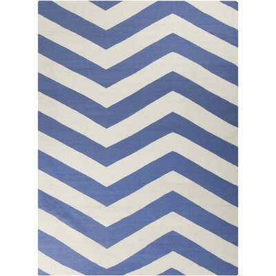Dickerson Periwinkle/White Chevron Area Rug Rug Size: Rectangle 8 x 11