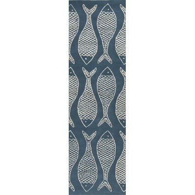 Brickyard Teal Blue/Ivory Rug Rug Size: Runner 26 x 8