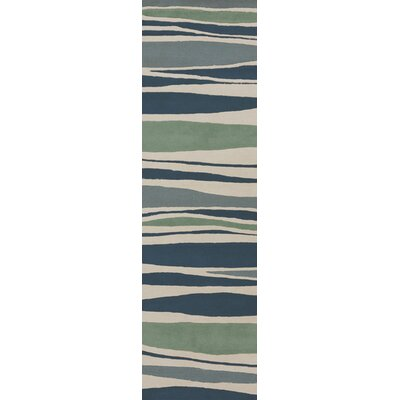 Brickyard Parchment/Pacific Blue Rug Rug Size: Runner 26 x 8