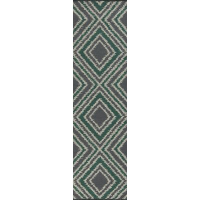 Halycon Winter White/Emerald Green Area Rug Rug Size: Runner 26 x 8