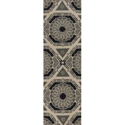 Alicia Parchment/Charcoal Gray Rug Rug Size: Runner 26 x 8