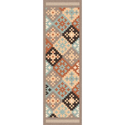 Wellsville Hand Woven Wool Blue/Beige/Brown Area Rug Rug Size: Runner 26 x 8