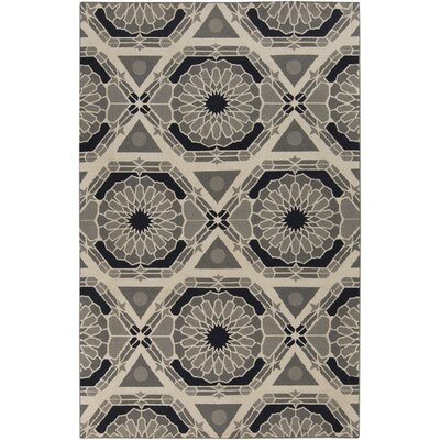 Alicia Parchment/Charcoal Gray Rug Rug Size: Rectangle 5 x 8