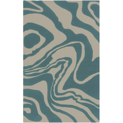 Kermit Hand-Tufted Bone/Sea Blue Area Rug Rug Size: 5 x 8