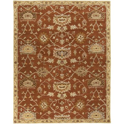 Queenswood Hand-Tufted Burnt Orange/Cream Area Rug Rug Size: Rectangle 5' x 7'9