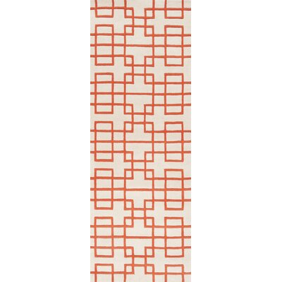 Jessenia Ivory/Orange Area Rug Rug Size: Runner 26 x 8