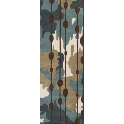 Marcela Slate Blue/Palm Green Rug Rug Size: Runner 26 x 8