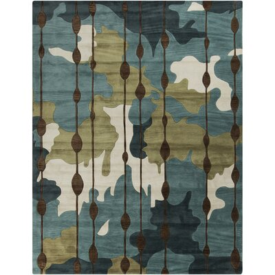 Marcela Slate Blue/Palm Green Rug Rug Size: 8 x 106