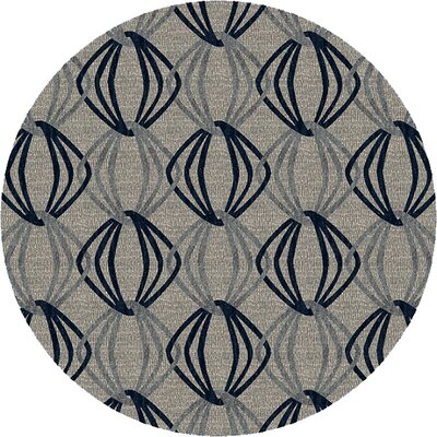 Stow Light Gray/Blue Area Rug Rug Size: Round 8