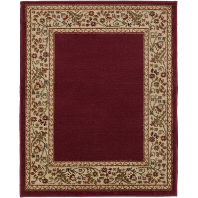 Arbus Dark Red/Wheat Area Rug Rug Size: 22 x 33