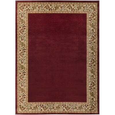 Arbus Dark Red/Wheat Area Rug Rug Size: 53 x 73
