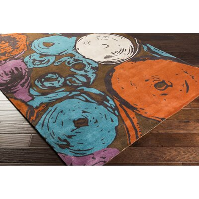 Craigsville Hand-Tufted Burnt Orange/Teal Area Rug Rug Size: Rectangle 5 x 8
