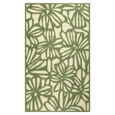 Storm Hand-Hooked Green/Beige Indoor/Outdoor Area Rug Rug Size: 5 x 76