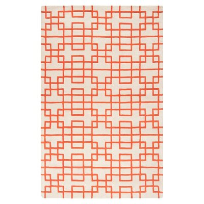 Jessenia Ivory/Orange Area Rug Rug Size: 33 x 53