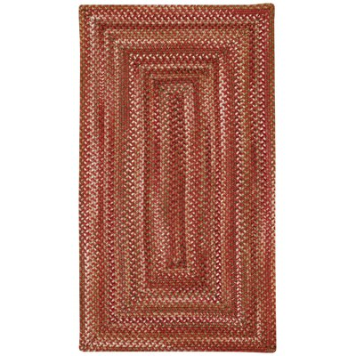 Florence Red Wool Hand Braided Area Rug Rug Size: Oval 92 x 132