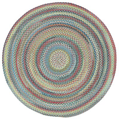 Portland Medium Blue Variegated Area Rug Rug Size: Round 76
