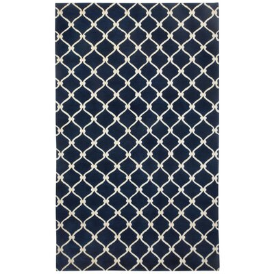 Cococozy Dark Blue / Cream Picket Area Rug Rug Size: 8 x 11