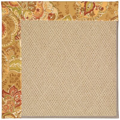 Zoe Machine Tufted Bronze Flowers and Beige Indoor/Outdoor Area Rug Rug Size: Round 12 x 12