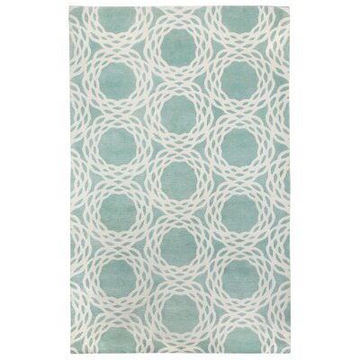 Cococozy Aquamarine / Cream Princeton Area Rug Rug Size: 8' x 11'