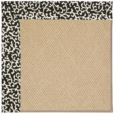 Zoe Machine Tufted Black Cascade and Beige Indoor/Outdoor Area Rug Rug Size: Square 8