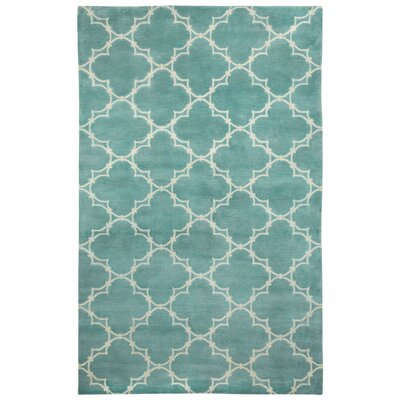 Cococozy Pale Blue / Cream Yale Area Rug Rug Size: 7 x 9