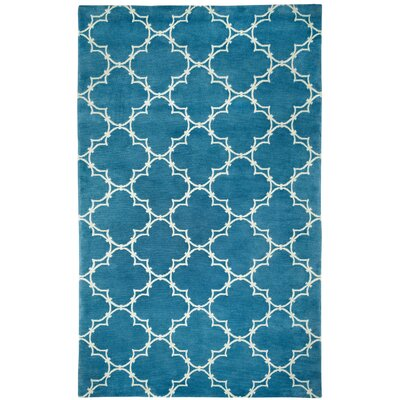 Cococozy Bright Blue / Ivory Yale Area Rug Rug Size: 5 x 8