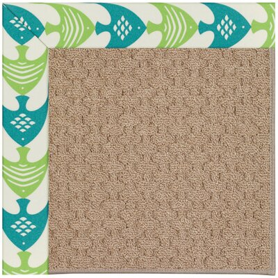 Zoe Grassy Mountain Machine Tufted Angel Fish Green/Brown Indoor/Outdoor Area Rug Rug Size: Square 4