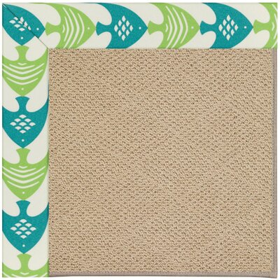 Zoe Machine Tufted Angel Fish Green/Brown Indoor/Outdoor Area Rug Rug Size: Square 4