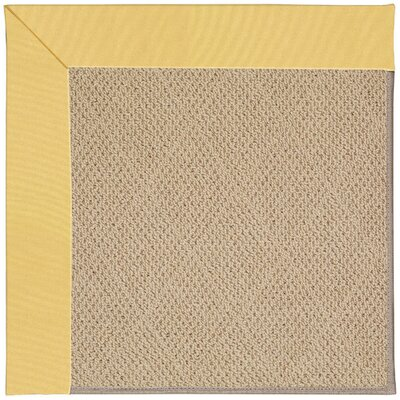 Zoe Machine Tufted Lemon and Beige Indoor/Outdoor Area Rug Rug Size: Round 12 x 12