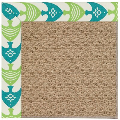 Zoe Machine Tufted Angel Fish Green/Brown Indoor/Outdoor Area Rug Rug Size: Square 8