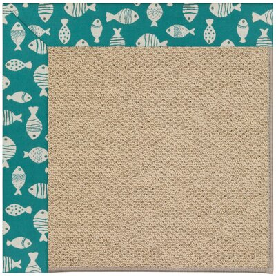 Zoe Machine Tufted Sea Green/Brown Indoor/Outdoor Area Rug Rug Size: Round 12 x 12