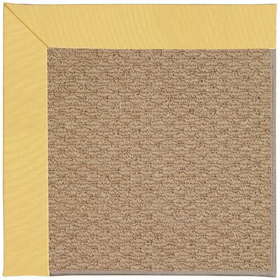 Zoe Machine Tufted Lemon/Brown Indoor/Outdoor Area Rug Rug Size: Round 12 x 12