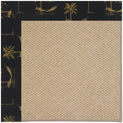 Zoe Machine Tufted Jet Black/Beige Indoor/Outdoor Area Rug Rug Size: Round 12 x 12