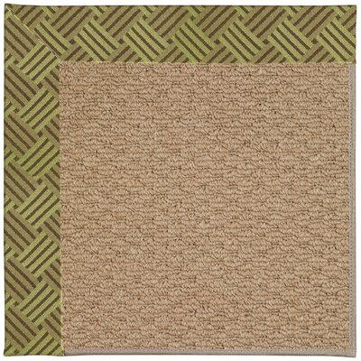 Zoe Machine Tufted Mossy Green and Beige Indoor/Outdoor Area Rug Rug Size: Round 12 x 12