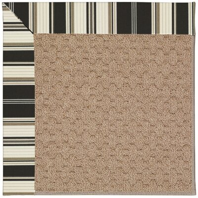 Zoe Machine Tufted Onyx/Brown Indoor/Outdoor Area Rug Rug Size: Round 12 x 12