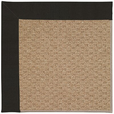 Zoe Machine Tufted Ebony and Beige Indoor/Outdoor Area Rug Rug Size: Round 12' x 12'