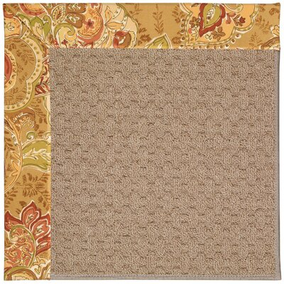 Zoe Grassy Mountain Machine Tufted Bronze Flowers and Beige Indoor/Outdoor Area Rug Rug Size: Round 12 x 12