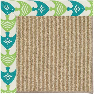 Zoe Machine Tufted Angel Fish Green and Beige Indoor/Outdoor Area Rug Rug Size: Square 10