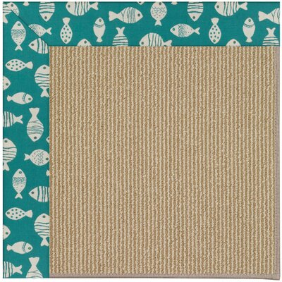 Zoe Machine Tufted Sea Green and Beige Indoor/Outdoor Area Rug Rug Size: Round 12 x 12
