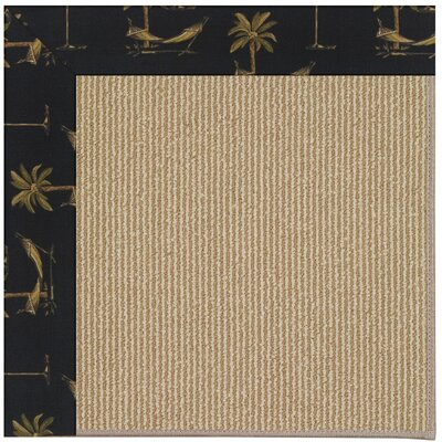 Zoe Machine Tufted Jet Black/Brown Indoor/Outdoor Area Rug Rug Size: Round 12 x 12