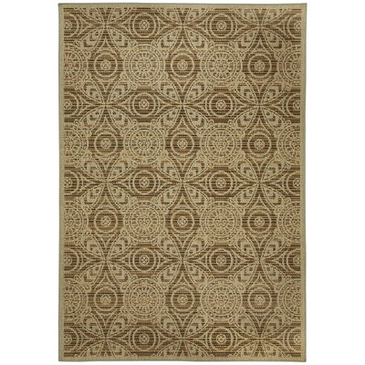 Portia Pinwheel Brown/Tan Indoor/Outdoor Area Rug Rug Size: Rectangle 53 x 76
