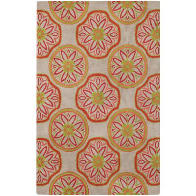 Charisma Ginger Root Suzani Hand-Tufted Red/Yellow Area Rug Rug Size: 5 x 8