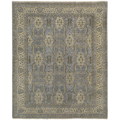 Brandon Hand Knotted Pewter Cream Area Rug Rug Size: 56 x 86