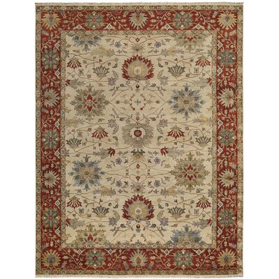 Brandon Hand Knotted Cream Red Area Rug Rug Size: 56 x 86