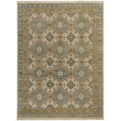 Brandon Hand Knotted Beige/Blue Area Rug Rug Size: 36 x 56