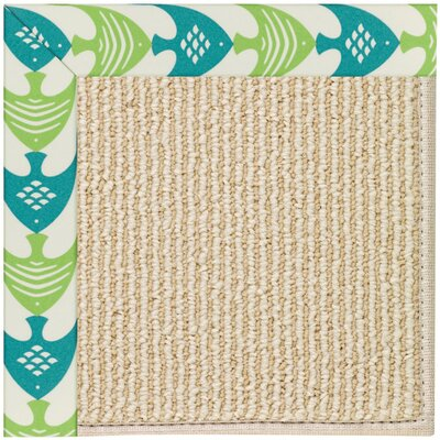 Zoe Machine Tufted Angel Fish Green/Beige Indoor/Outdoor Area Rug Rug Size: Square 4